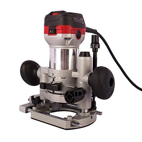 AREBOS Oberfräse | Holz Fräse Fräsmaschine | 710W | Tauchbasis & Trimmer | mit Werkzeugtasche |