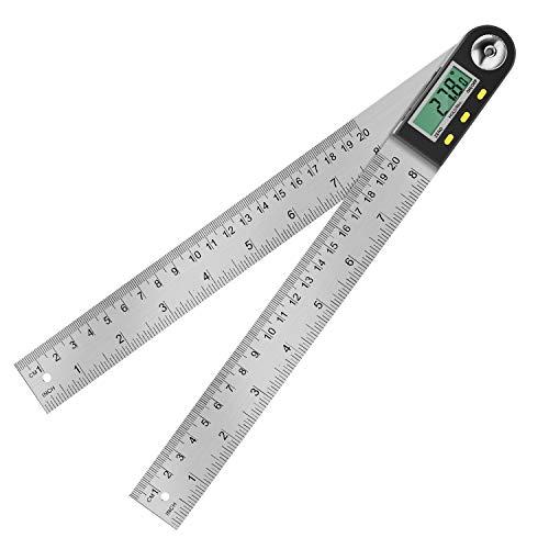 Digitaler Winkelmesser, Winkelmesser mit LCD Anzeige aus Edelstahl, Elektronischer schmiege Winkel Lineal 400...