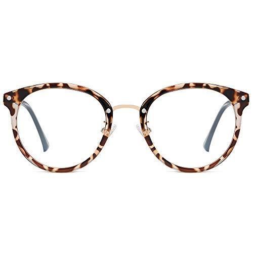 SOJOS Rund Groß Brille mit Blaulichtfilter ohne Sehstärke Anti-Blaulicht Gläser Brille SJ9001 Ashley mit...