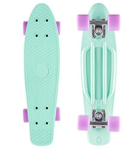 BIKESTAR Vintage Retro Cruiser Skateboard 60mm für Kinder und Erwachsene auch Anfänger ab ca. 6-8 Jahre |...