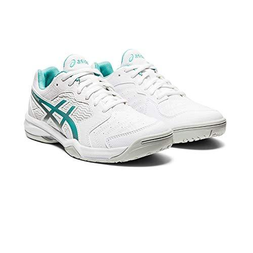 ASICS Damen Gel-Dedicate 6 Tennisschuh, White Techno Cyan, Numeric_41_Point_5 EU