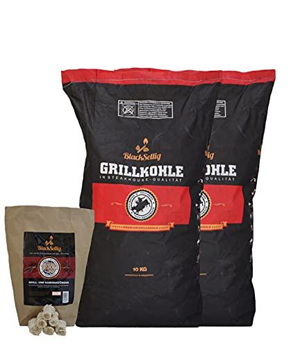 BlackSellig 20 Kg Steakhousekohle + NEU mit 50 STÜCK natürliche Anzünder reines Quebracho Holz- perfekte...