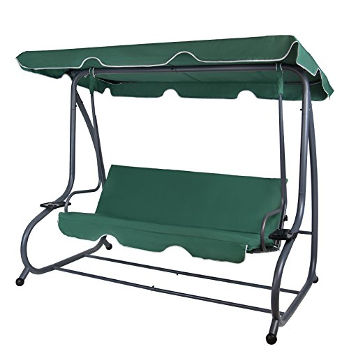 Montafox 4-Sitzer Hollywoodschaukel Gartenschaukel klappbar mit Bettfunktion mit Sonnendach und Liegefunktion...