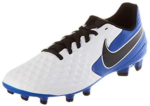 Nike Unisex Legend 8 Academy FG/MG Football Shoe, White/Black-Hyper Royal-Metallic Silver, 39 EU