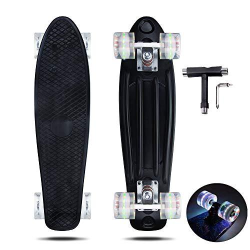 VERNBRIN Skateboards Mini Cruiser Retro Skateboard, komplettes Kunststoff Skateboard Penny Board 22 Zoll für...