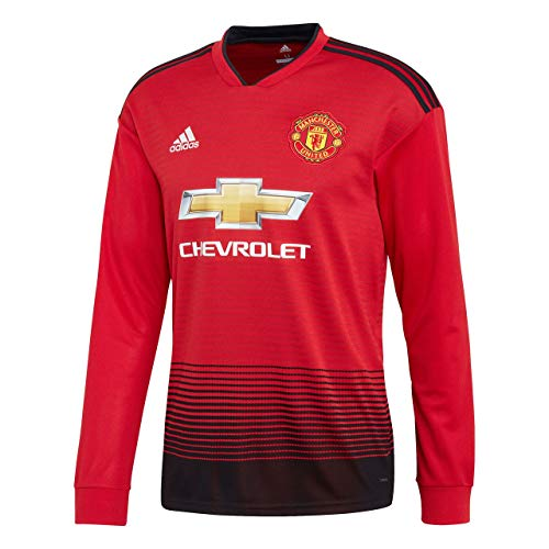 adidas Herren 18/19 Manchester United Home Longsleeve Trikot, real red/Black, 2XL