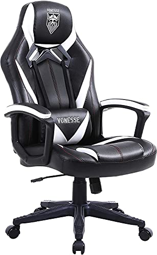 Vonesse Gaming Stuhl für Erwachsene, Ergonomischer Computerstuhl mit Massage, Bürostuhl aus Kohlefaser...