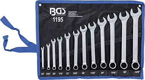 BGS 1195 | Maul-Ringschlüssel-Satz | 12-tlg. | Zollgrößen | SW 1/4' - 15/16' | inkl. Tetron-Rolltasche |...