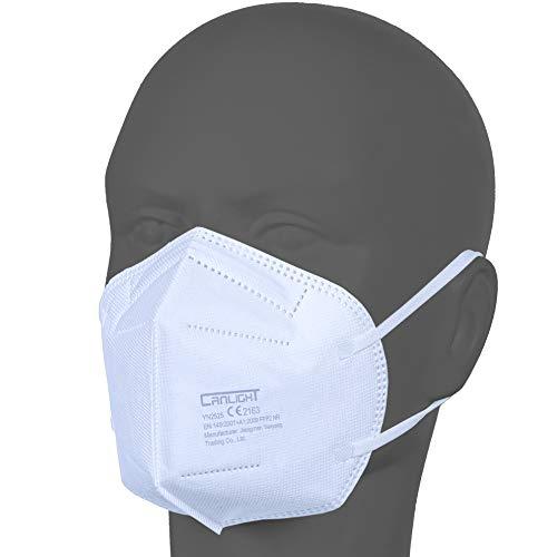 AUPROTEC 50 Stück FFP2 Maske Atemschutzmaske EU CE 2163 Zertifiziert EN149:2001+A1:2009 Mundschutz 5 lagig...