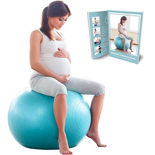 BabyGO Gymnastikball Schwangerschaft Sitzball Büro Schwangere Yoga Pezziball 65cm + KOSTENLOSE ÜBUNGSHEFT...