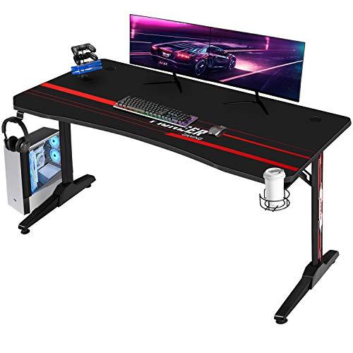 Devoko Gaiming Tisch Gaming Schreibtisch Gamer Computertisch Ergonomischer PC Schreibtisch mit Getränkehalter...