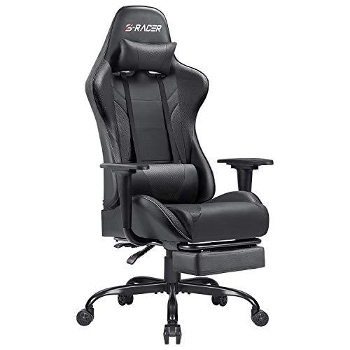 Homall Gaming Stuhl mit Fußstütze Schreibtischstuhl Bürostuhl mit Kopfstütze und Lendenkissen...