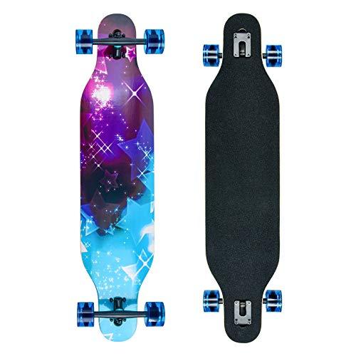 Longboard Skateboard Cruiser Komplettes Board mit ABEC-11 Lagern, acht Schichten Ahorn Longboard Jungen und...