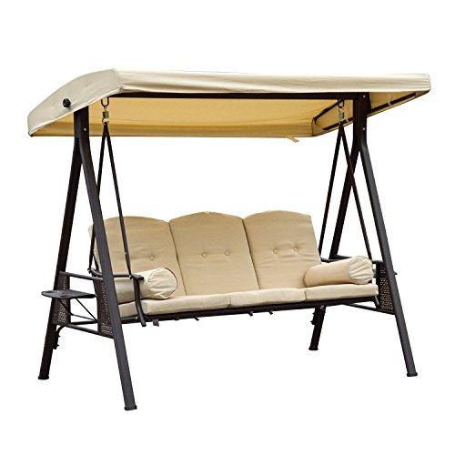 Outsunny 3-Sitzer Hollywoodschaukel Gartenschaukel mit Sonnendach + Kissen Metall + Polyester Beige + Braun...