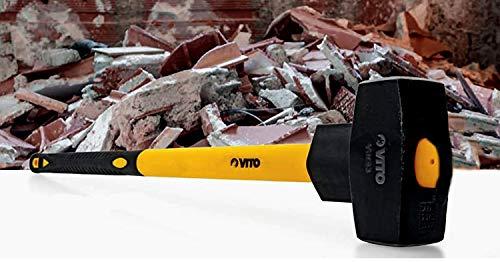 VITO Vorschlaghammer 4 kg | Abbruchhammer 4000 g | hochwertiges Schlagwerkzeug mit Fiberglasstiel,...