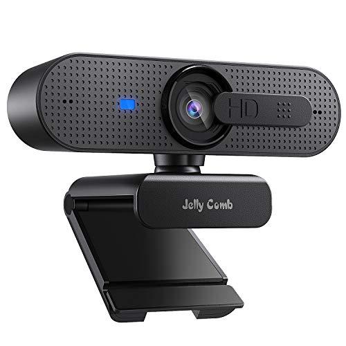 Jelly Comb 1080P HD Webcam mit Objektivdeckel, Streaming Webkamera mit Autofokus/Stereo Mikrofon für...