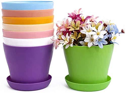 TOKERD 10 Stück 14cm Pflanztöpfe Kunststoff mit Untersetzer Rund Blumentöpfe Plastik Anzuchttöpfe...