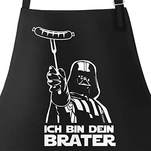 MoonWorks Grill-Schrze fr Mnner mit Spruch Ich Bin Dein Brater Baumwoll-Schrze Kochschrze Grillen Barbecue BBQ...