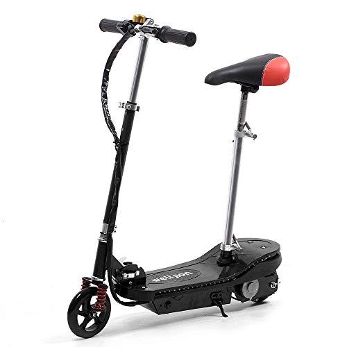 Schwarz Faltbarer Elektroroller mit Sitz für Kinder Mädchen Elektro Scooter mit LED Licht 150W Motor Max 12...