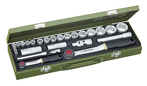 PROXXON Steckschlüsselsatz, Für alle wichtigen PKW-Schrauben mit 1/4'-und 1/2'-Umschaltratsche, 27-teiliges...