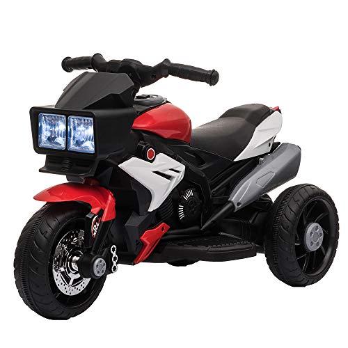HOMCOM Elektrofahrzeug Kindermotorrad Kinderfahrzeug mit Musik und Beleuchtung Elektro-Dreirad mit Akku 3-6...