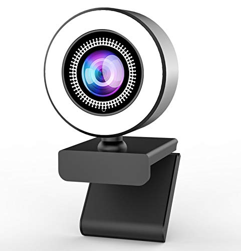 OVIFM 2K Webcam mit Mikrofon und Ringlicht Full HD Web Cam für PC, Laptop, Mac, USB Webcam Streaming mit...