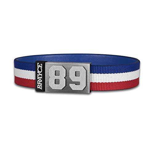 BRAYCE® Trikot am Handgelenk® mit Deiner Trikot Nummer 00-99 I Armband blau, weiß & rot I...