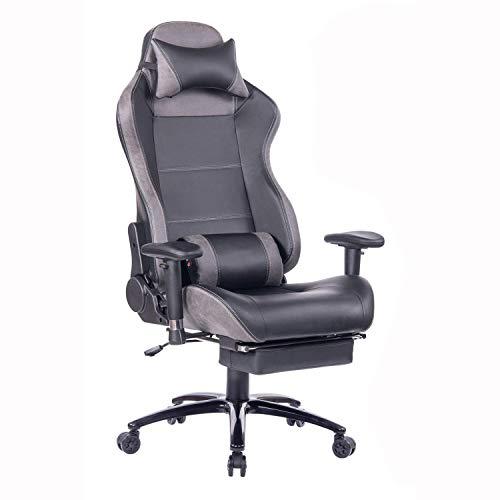 Wolmics Massage Gaming Stuhl mit Fußstütze Matel Base-Memory Foam Verstellbare Rückenlehne Liegender PC...