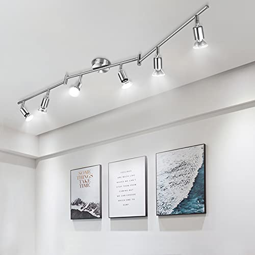 Wowatt LED Deckenleuchte 6 Flammig Strahler Spotleuchten Spotbalken 6x 6W GU10 Spots Kaltweiß 6000K...