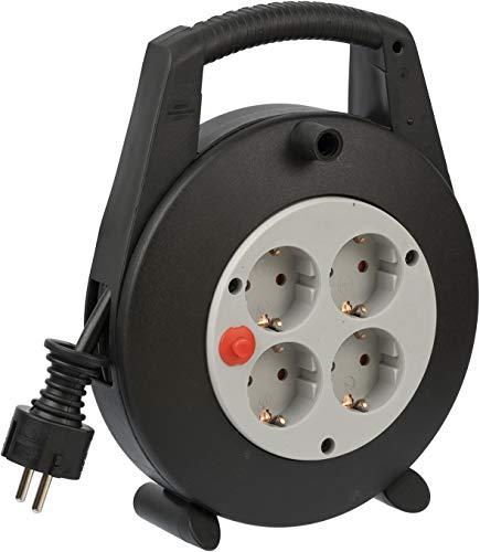Brennenstuhl Vario Line Kabelbox 4-fach / Mini-Kabeltrommel (Indoor-Kabeltrommel für Haushalt, 5m Kabel, Made...
