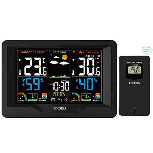 FOCHEA Wetterstation Funk mit Außensensor, Funk Wetterstation Digital-Thermometer Hygrometer mit...
