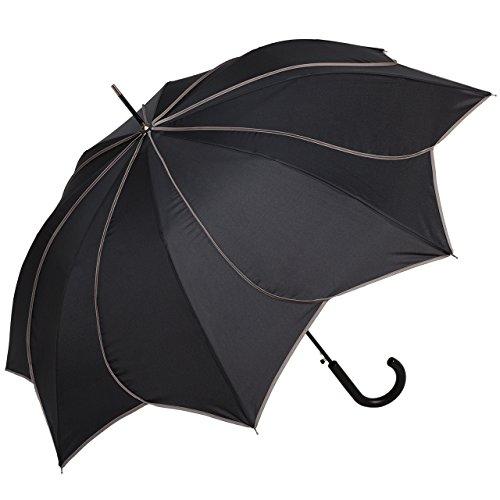 VON LILIENFELD Regenschirm Sonnenschirm Hochzeitsschirm Auf-Automatik Blütenform Minou schwarz mit grauen...