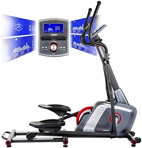HAMMER Ellipsentrainer Speed-Motion BT, leises Trainingsgerät mit Bluetooth & App-Steuerung, Smartphone- und...