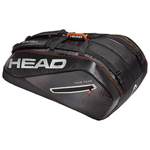 HEAD Unisex– Erwachsene Tour Team 12R Monstercombi Tennistasche, Black/Silver, Einheitsgröße