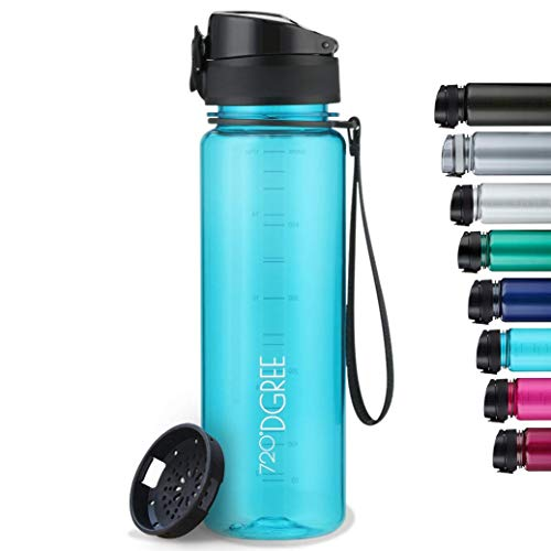 """720°DGREE Trinkflasche """"uberBottle"""" crystalClear +Sieb - 500 ml - BPA-Frei, Auslaufsicher - Für Kinder,..."""