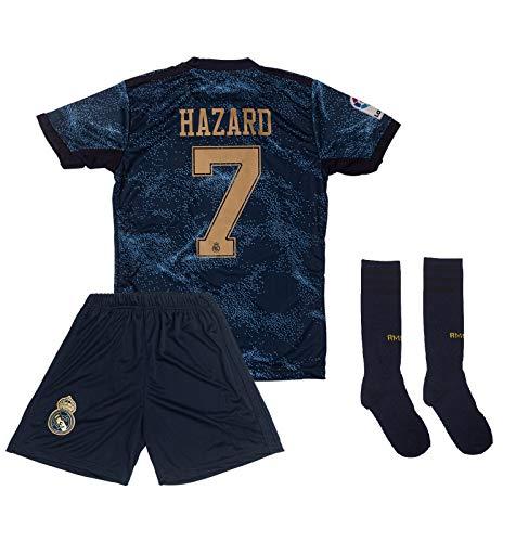 ATB Real Madrid 2019/2020#7 Hazard Auswärts Kinder Fußball Trikot und Shorts mit Socken Kinder und Jugend...