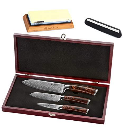 Wakoli 3er Damastmesser-Set mit Holzbox - Klingenlängen von 8,50 cm bis 17,00 cm mit Schleifstein Körnung...