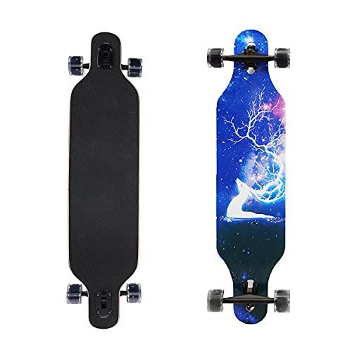 Longboard, Komplettboard, 7 Schichten, Ahornholz, Double Kick Concave Deck Tanz Anfänger mit LED PU Rollen...