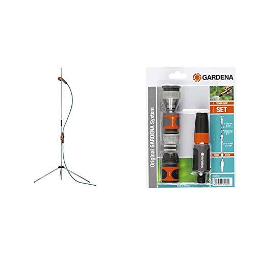 Gardena Gartendusche Trio: Dusche mit 2 Strahlarten & Grundausstattung mit Anschlussteilen für 13 mm (1/2...