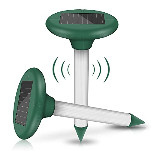 2 Stück Solar Maulwurfabwehr, Ultrasonic LED Maulwurfschreck, Wühlmausvertreiber, Wühlmausschreck, Mole...