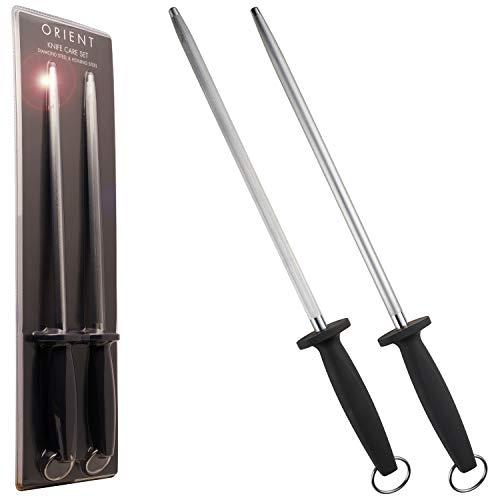 Wetzstahl mit Diamant-Beschichtung & Wetzstahl für Messer 2er Schärfstab 31cm Messerschärfer Stab 600...