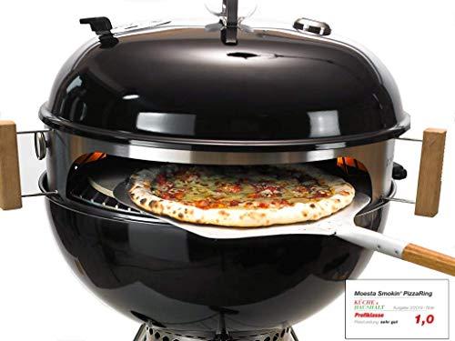 Moesta-BBQ 10085 Smokin' PizzaRing Pizzaset - für Kugelgrill 57cm Durchmesser mit Pizzaschieber, Pizzastein,...