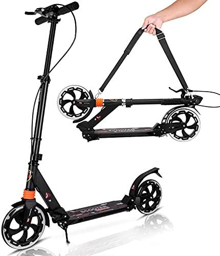 YUANJ Kick Scooter für Erwachsene/Teenager, Tretroller klappbar Kinder City Scooter ab 6 Jahre alt (Black)