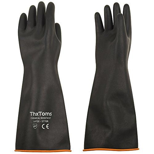 Thxtoms robuste Latex-Handschuhe, widerstehen starken Säuren, Laugen und Öl, schwarz