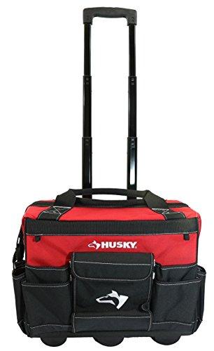 """Husky GP-43196N13 18"""" 600-Denier Red Water Resistant Werkzeugtasche mit Teleskopgriff"""