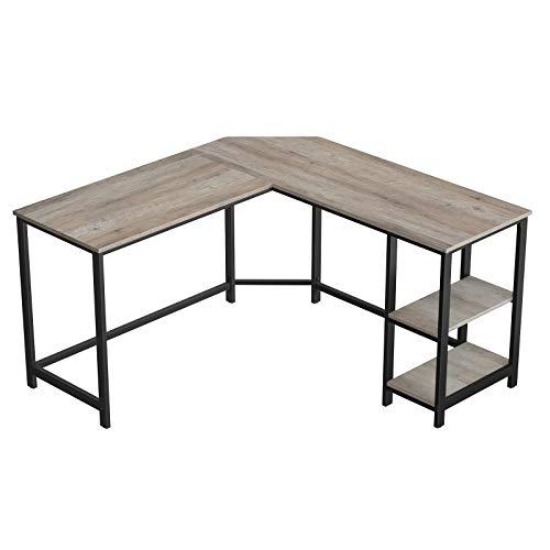 VASAGLE Schreibtisch, L-förmiger Computertisch, Eckschreibtisch mit 2 Ablagen, platzsparender Bürotisch im...