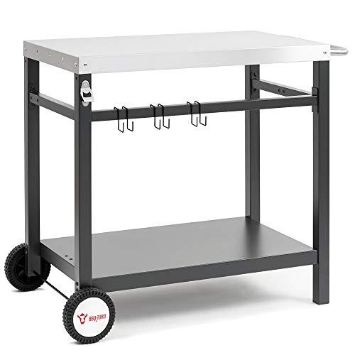 BBQ-Toro Grillwagen 85 x 50 x 81 cm | Metall Beistelltisch mit Edelstahl Arbeitsfläche | Rollwagen zum...