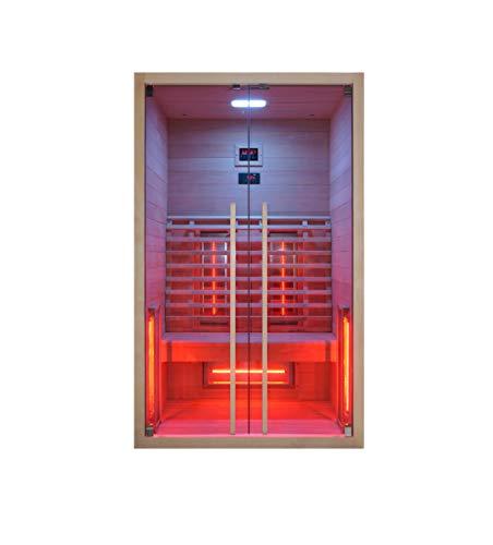 Infrarotkabine 120 x 100 x 195 cm für 2 Personen aus Hemlock Holz | Infrarotkabine mit ergonomischer...