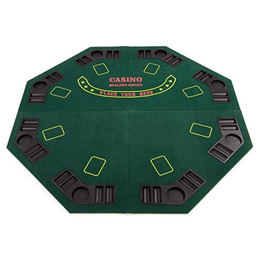 Nexos Faltbare Tischauflage Casino Pokertisch Pokerauflage achteckig Holzverstärkt klappbar 120 x 120 cm...