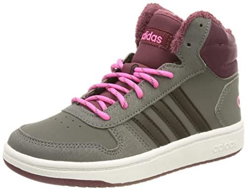 adidas Hoops Mid 2.0 Basketballschuh, Grey Five Core Black Screaming Pink, 35.5 EU